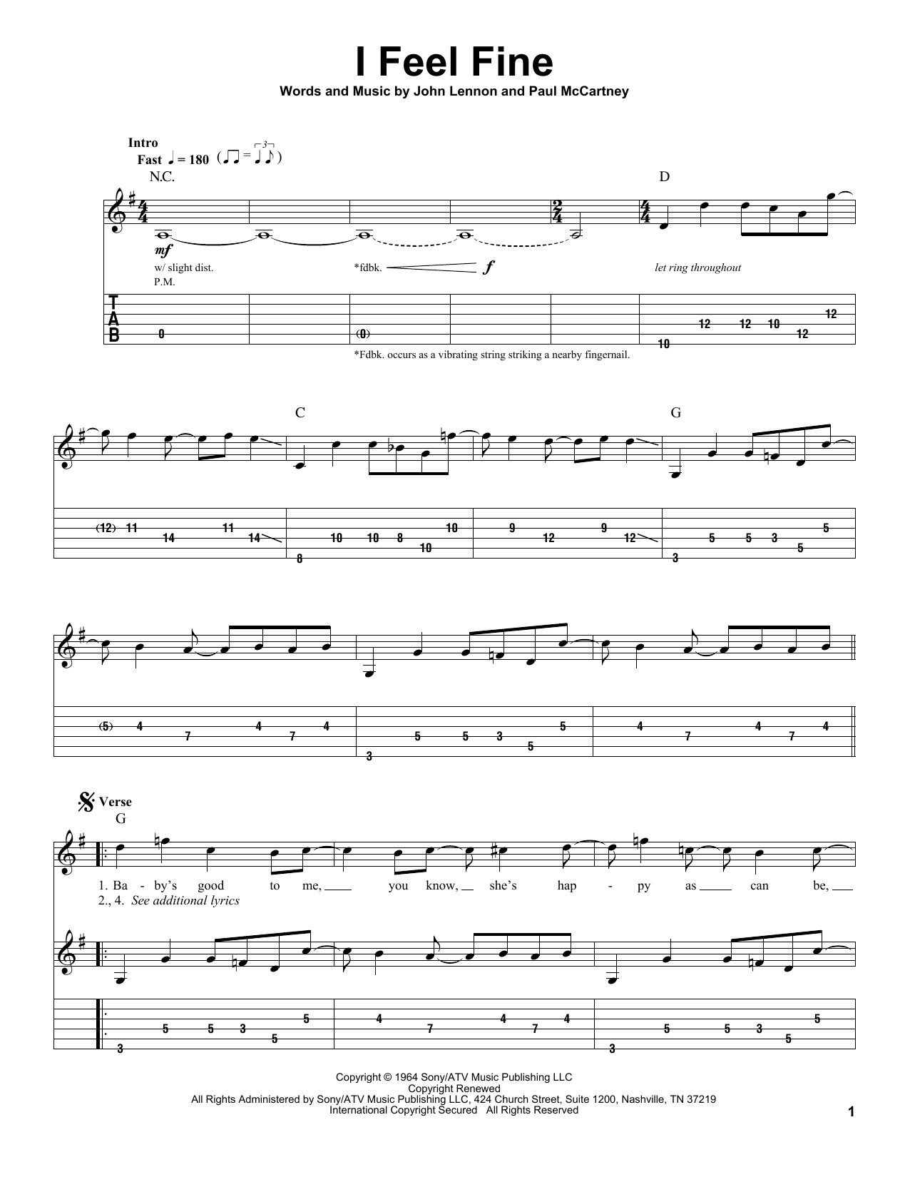 Tablature guitare I Feel Fine de The Beatles - Tablature Guitare