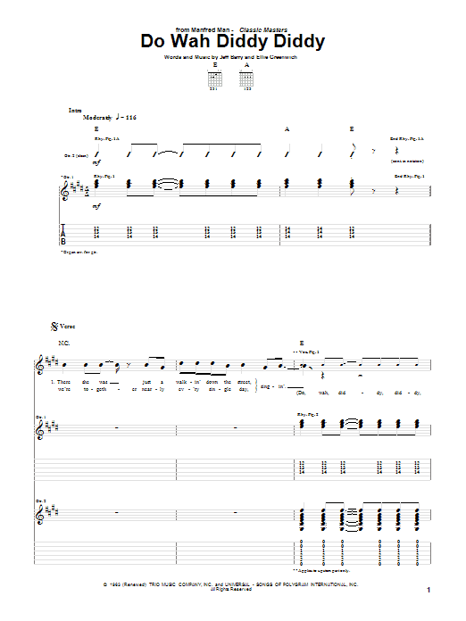 Tablature guitare Do Wah Diddy Diddy de Manfred Mann - Tablature Guitare