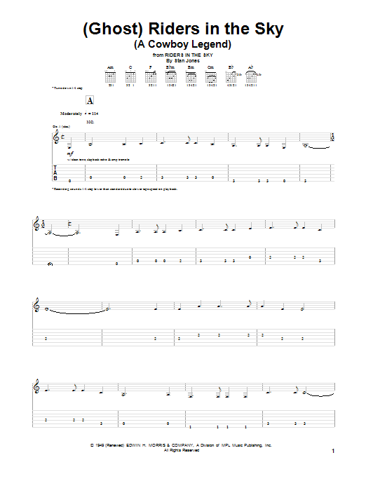 Tablature guitare (Ghost) Riders In The Sky (A Cowboy Legend) de Dick Dale - Tablature Guitare