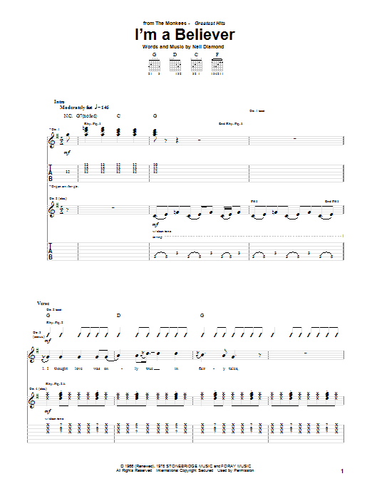 Tablature guitare I'm A Believer de The Monkees - Tablature Guitare