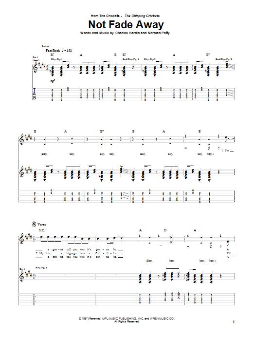 Tablature guitare Not Fade Away de Buddy Holly - Tablature Guitare