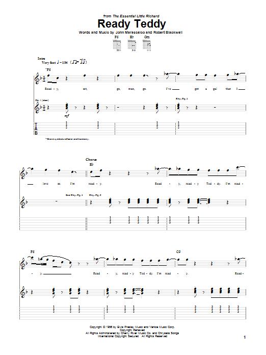 Tablature guitare Ready Teddy de Elvis Presley - Tablature Guitare