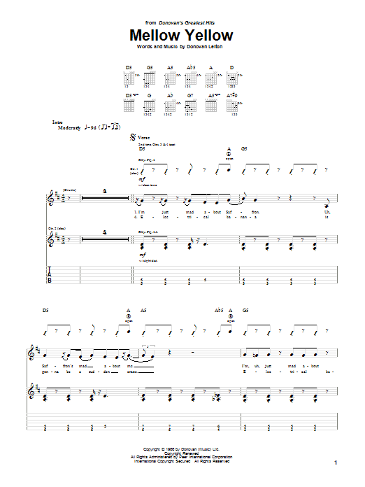 Tablature guitare Mellow Yellow de Donovan - Tablature Guitare