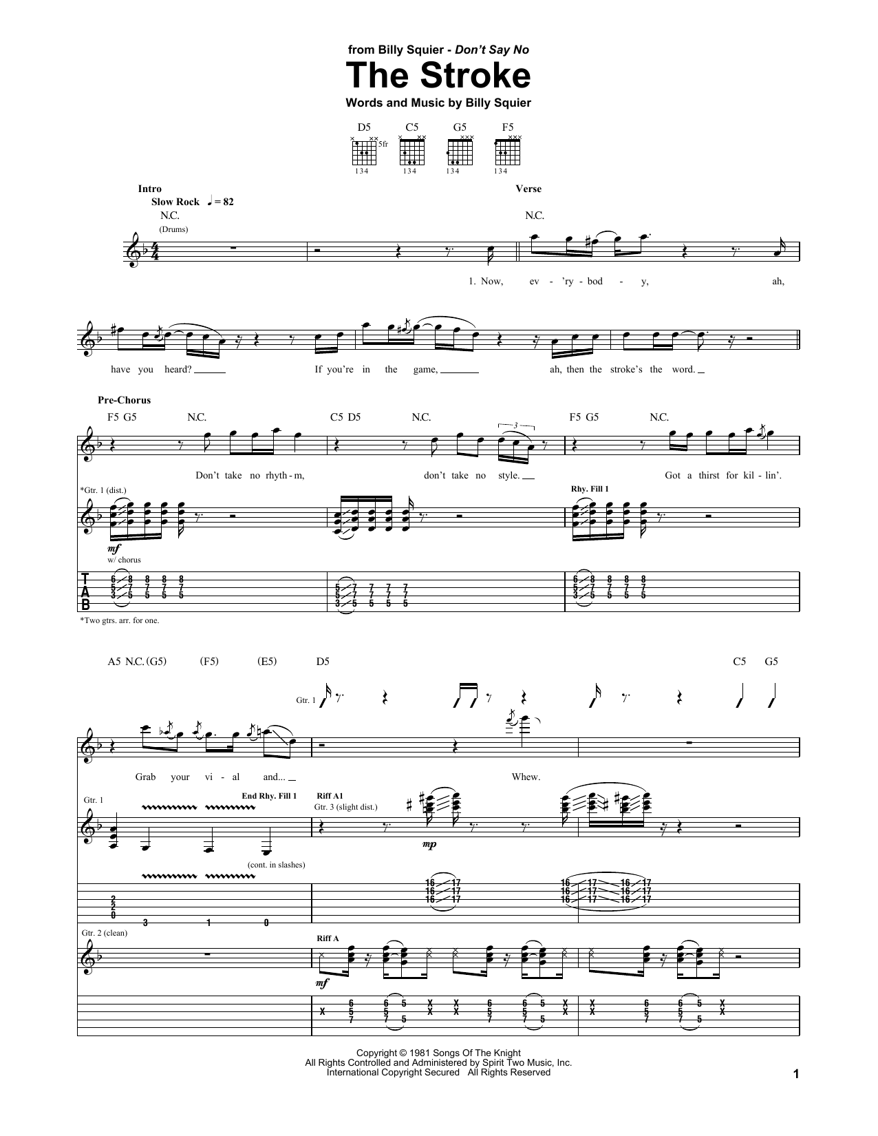 The Stroke sheet music for guitar solo (tablature) by Billy Squier
