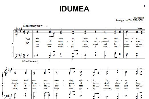 Partition piano Idumea de Sacred Harp Singers At Liberty Church - Piano Voix Guitare (Mélodie Main Droite)