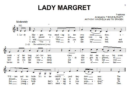 Partition piano Lady Margret de Cassie Franklin - Piano Voix Guitare (Mélodie Main Droite)