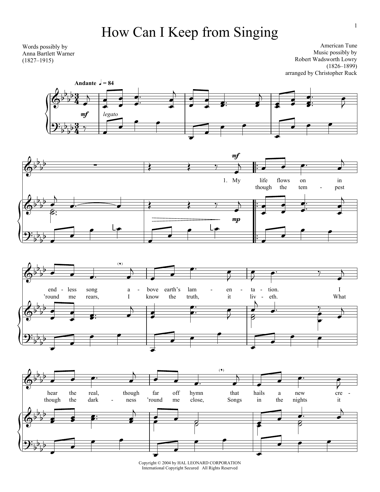 Partition piano How Can I Keep From Singing de American Folk Hymn - Piano Voix
