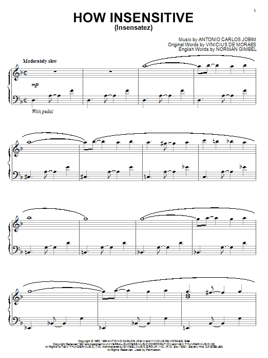 Partition piano How Insensitive (Insensatez) de Antonio Carlos Jobim - Piano Solo