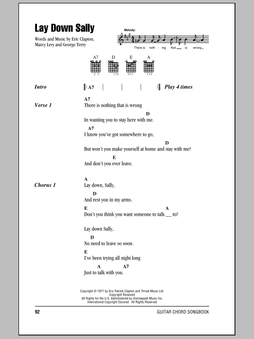 Lay Down Sally sheet music for guitar solo (chords, lyrics, melody) by Marcy Levy