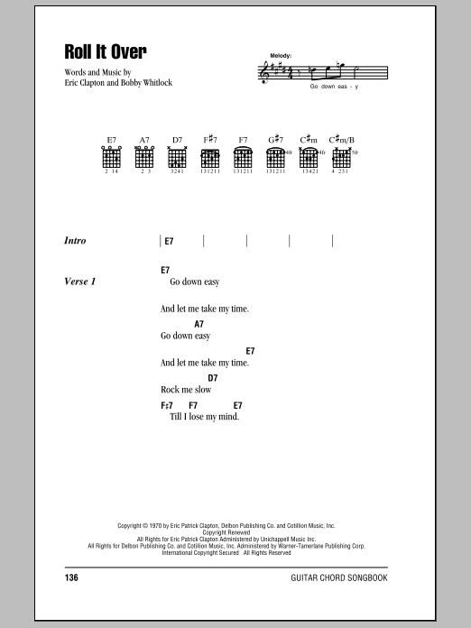 Roll It Over sheet music for guitar solo (chords, lyrics, melody) by Bobby Whitlock