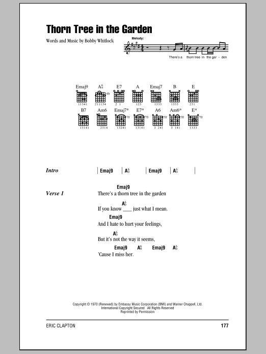 Eric Clapton Thorn Tree In The Garden Lyrics Chords