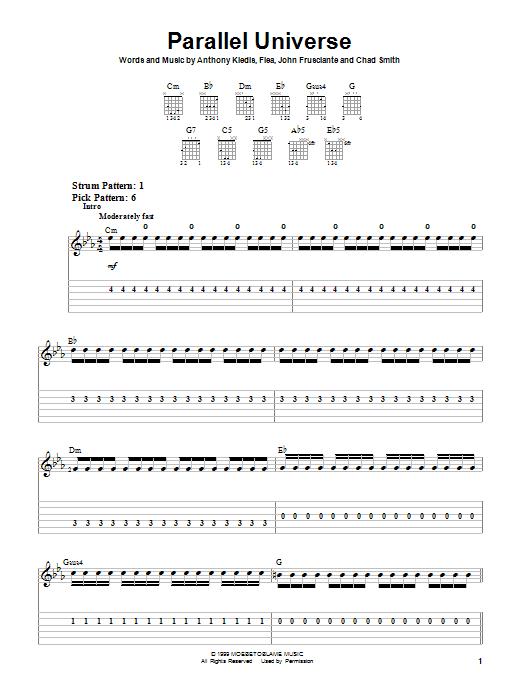 Tablature guitare Parallel Universe de Red Hot Chili Peppers - Tablature guitare facile