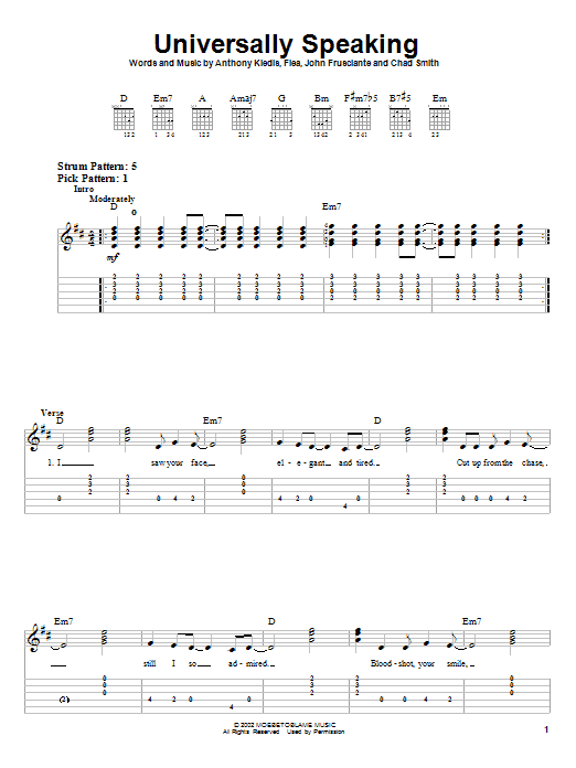 Tablature guitare Universally Speaking de Red Hot Chili Peppers - Tablature guitare facile