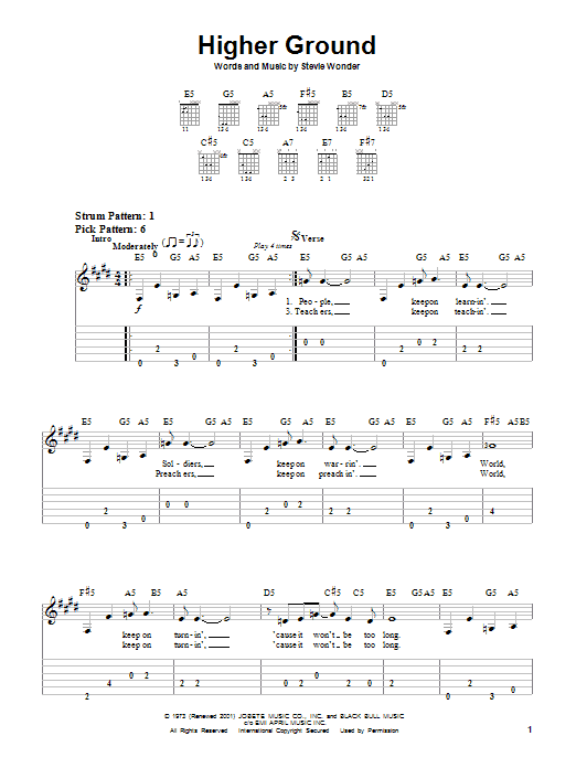 Tablature guitare Higher Ground de Red Hot Chili Peppers - Tablature guitare facile