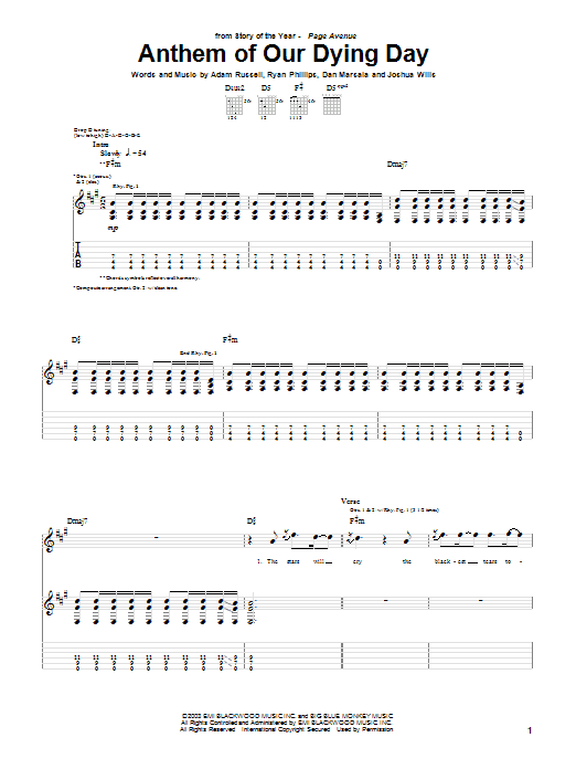 Tablature guitare Anthem Of Our Dying Day de Story Of The Year - Tablature Guitare
