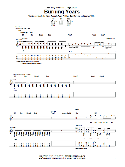 Tablature guitare Burning Years de Story Of The Year - Tablature Guitare