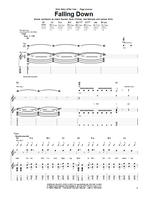 Tablature guitare Falling Down de Story Of The Year - Tablature Guitare