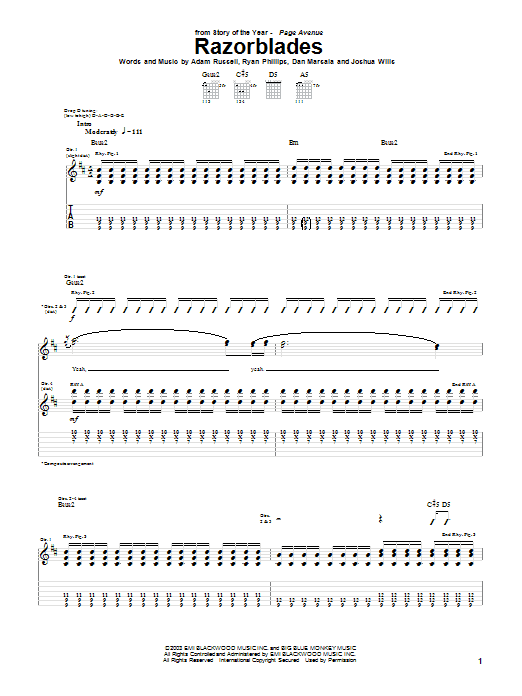 Tablature guitare Razorblades de Story Of The Year - Tablature Guitare