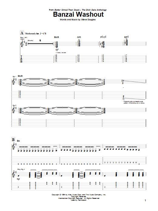Tablature guitare Banzai Washout de Dick Dale - Tablature Guitare