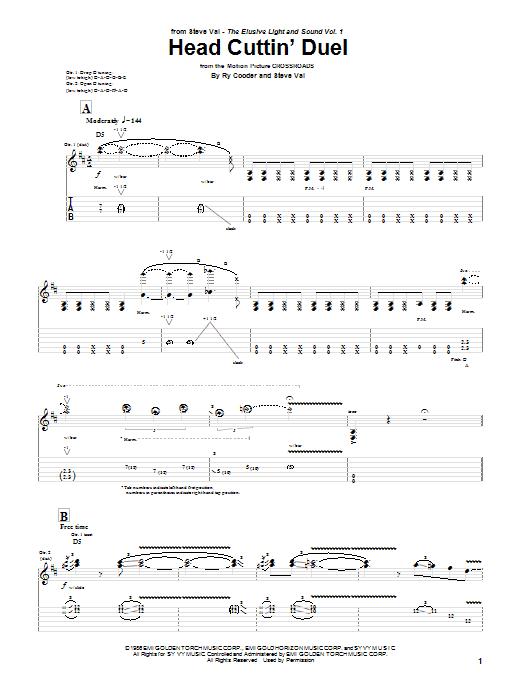 Tablature guitare Head Cuttin' Duel de Steve Vai & Ry Cooder - Tablature Guitare