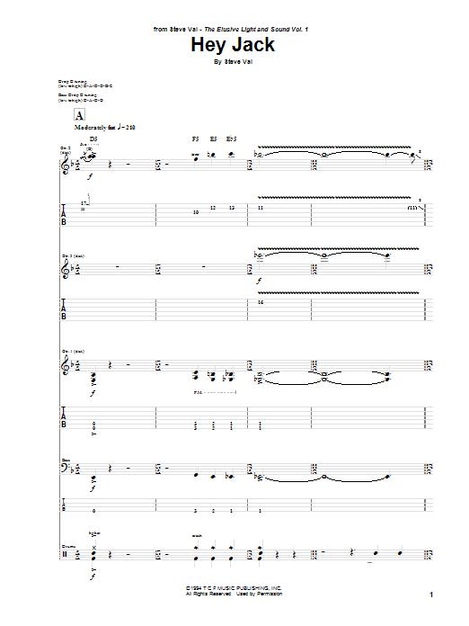 Tablature guitare Hey Jack de Steve Vai - Tablature Guitare
