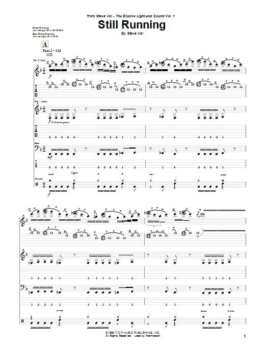 Tablature guitare Still Running de Steve Vai - Tablature Guitare