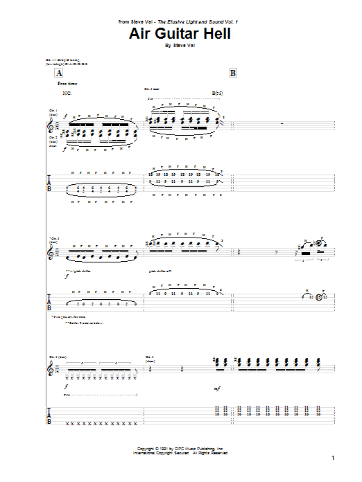 Tablature guitare Air Guitar Hell (from Bill And Ted's Bogus Journey) de Steve Vai - Tablature Guitare