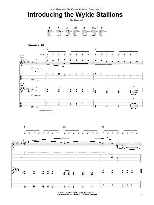 Tablature guitare Introducing The Wylde Stallions (from Bill And Ted's Bogus Journey) de Steve Vai - Tablature Guitare