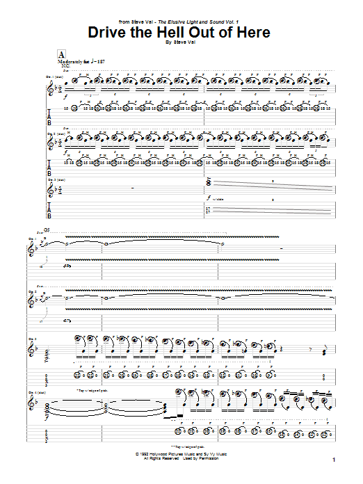 Tablature guitare Drive The Hell Out Of Here de Steve Vai - Tablature Guitare