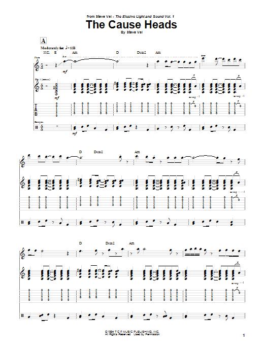 Tablature guitare The Cause Heads de Steve Vai - Tablature Guitare