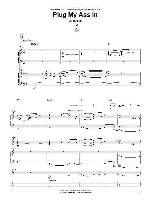 Tablature guitare Plug My Ass In de Steve Vai - Tablature Guitare