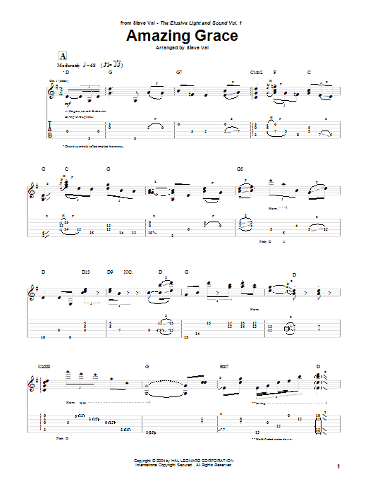 Tablature guitare Amazing Grace de Steve Vai - Tablature Guitare