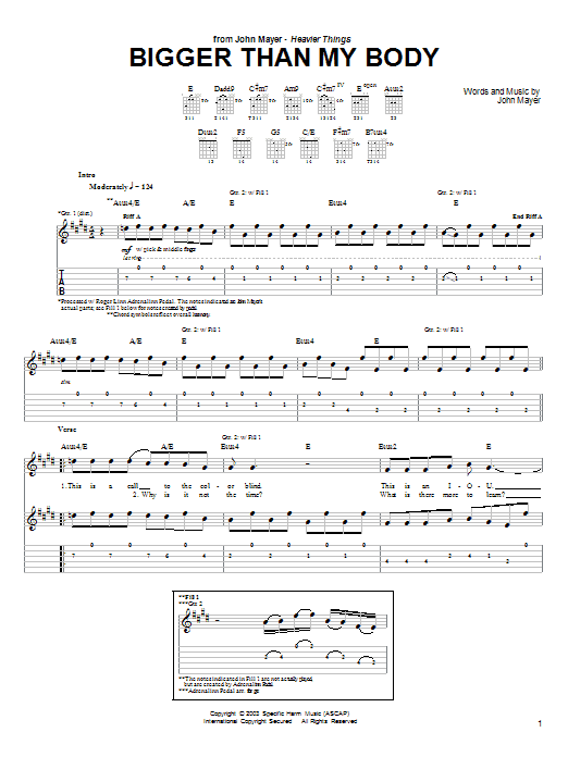 Tablature guitare Bigger Than My Body de John Mayer - Tablature Guitare