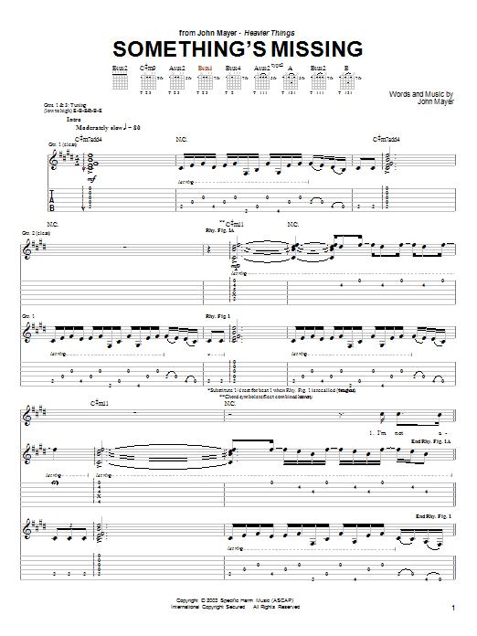 Tablature guitare Something's Missing de John Mayer - Tablature Guitare