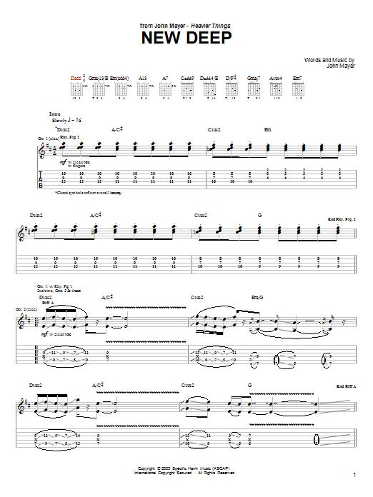 Tablature guitare New Deep de John Mayer - Tablature Guitare