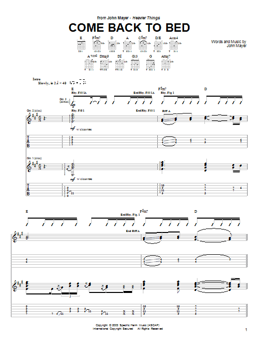 Tablature guitare Come Back To Bed de John Mayer - Tablature Guitare