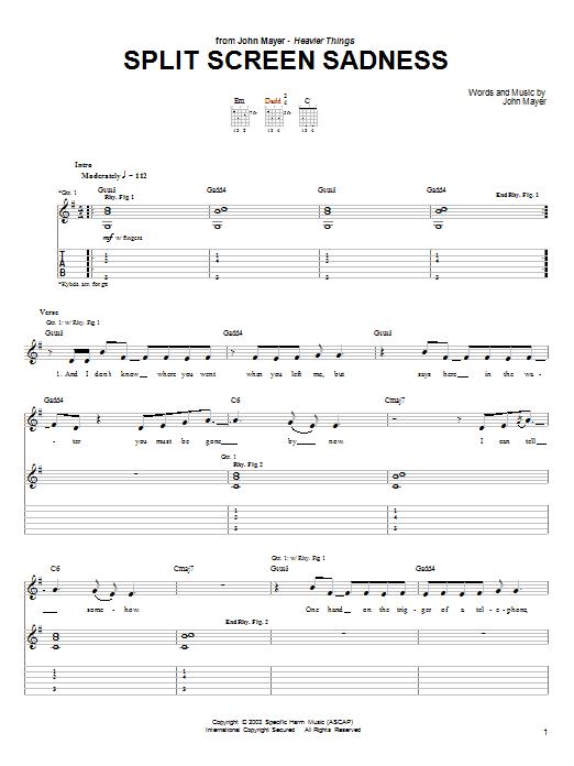 Tablature guitare Split Screen Sadness de John Mayer - Tablature Guitare