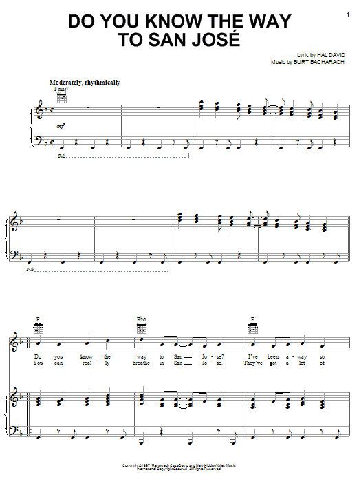 Partition piano Do You Know The Way To San Jose de Dionne Warwick - Piano Voix Guitare (Mélodie Main Droite)
