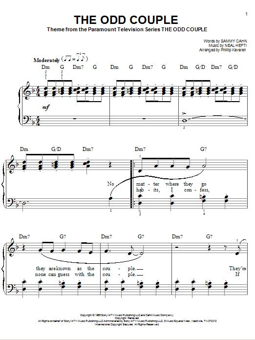 Partition piano The Odd Couple de Neal Hefti - Piano Facile