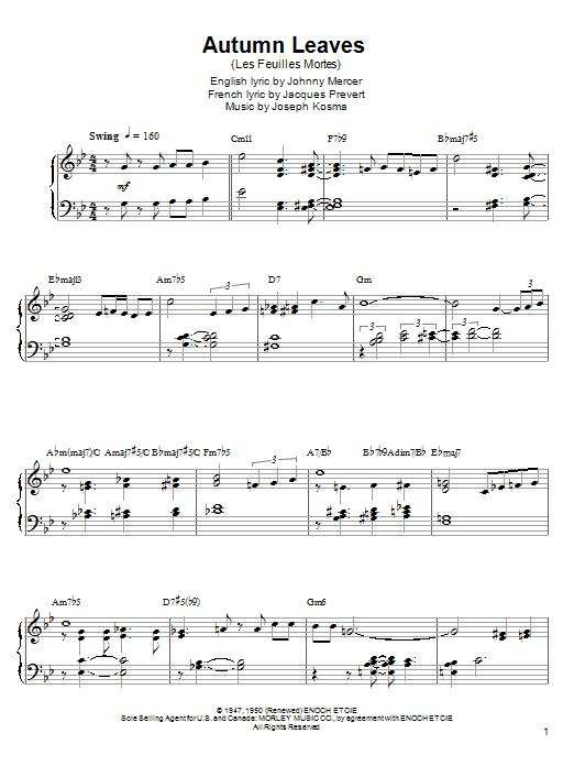 Partition piano Autumn Leaves (Les Feuilles Mortes) de Kenny Werner - Autre