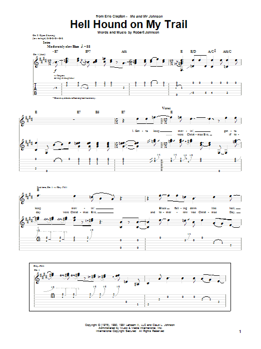 Tablature guitare Hell Hound On My Trail de Eric Clapton - Tablature Guitare