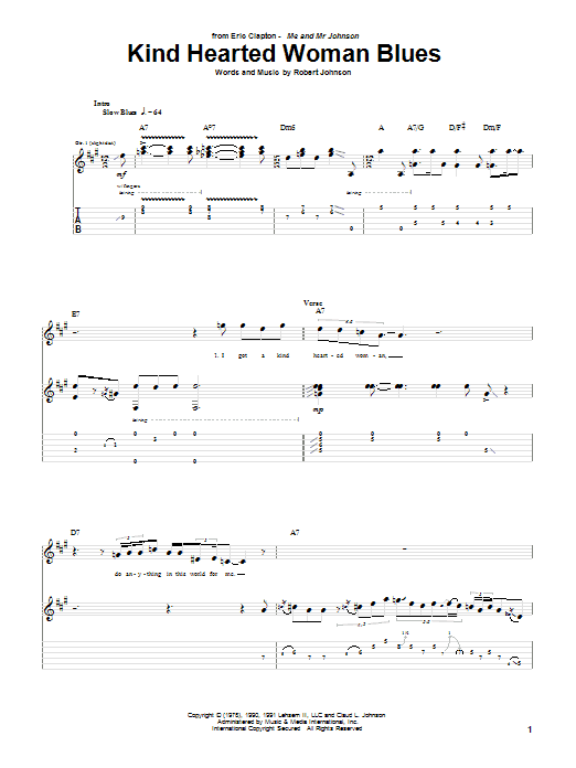 Tablature guitare Kind Hearted Woman Blues de Eric Clapton - Tablature Guitare