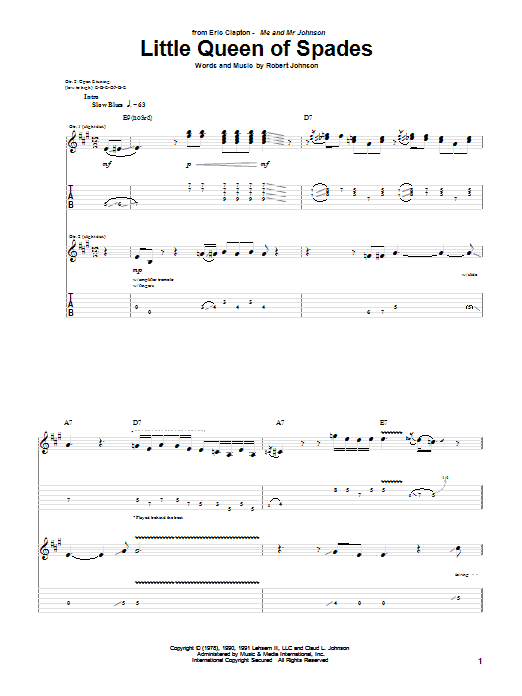 Tablature guitare Little Queen Of Spades de Eric Clapton - Tablature Guitare