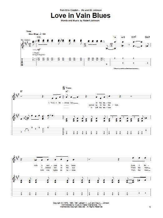 Tablature guitare Love In Vain Blues de Eric Clapton - Tablature Guitare