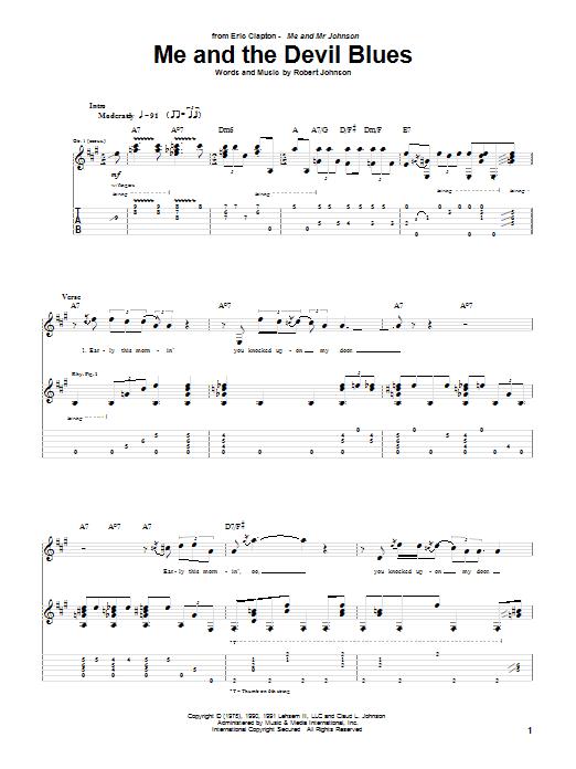 Tablature guitare Me And The Devil Blues de Eric Clapton - Tablature Guitare