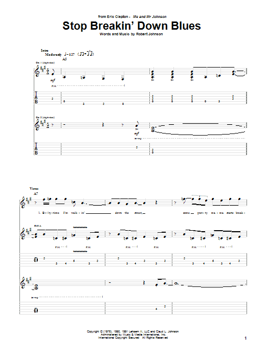 Tablature guitare Stop Breakin' Down Blues de Eric Clapton - Tablature Guitare