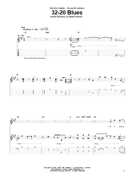 Tablature guitare 32-20 Blues de Eric Clapton - Tablature Guitare