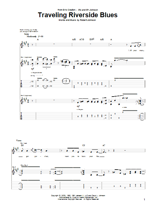 Tablature guitare Traveling Riverside Blues de Eric Clapton - Tablature Guitare