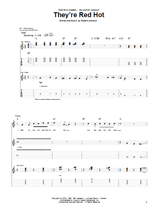 Tablature guitare They're Red Hot de Eric Clapton - Tablature Guitare