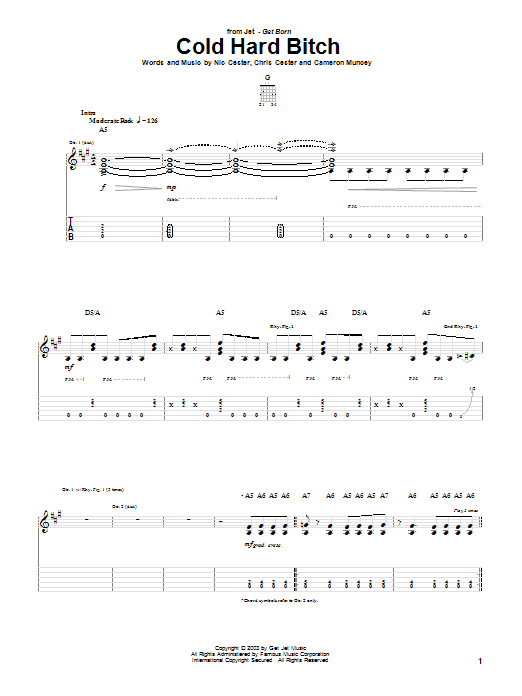 Cold Hard Bitch sheet music for guitar solo (tablature) by Chris Cester